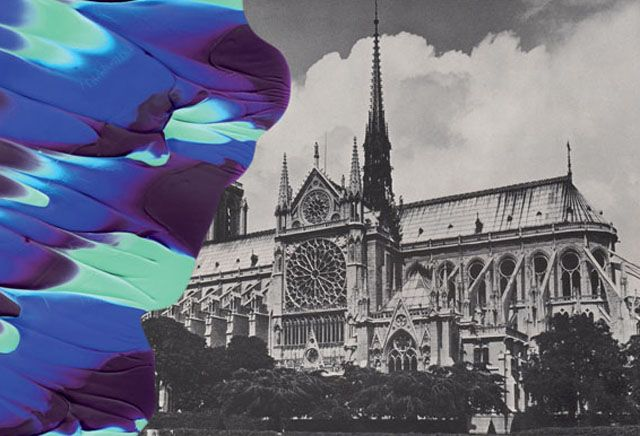 paint smudged photographs from Paris-based artist Leslie David #NotreDame