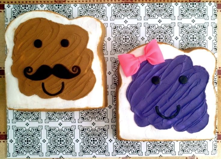 Peanut Butter & Jelly Cakes http://cakecentral.com/g/i/2333764/two-9-inch-single-layer-cakes-one-is-lemon-cake-with-lemon-icing-the-other-white-cake-with-buttercream-icing-eyes-mouths-moustache-and-bow-made-of-fondant/
