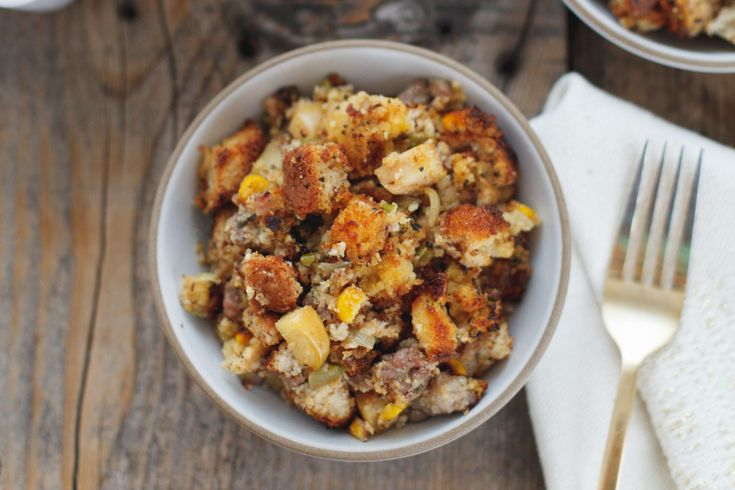 Apple and Sausage Cornbread Stuffing with Sage {gluten-free} - Snixy Kitchen - Snixy Kitchen