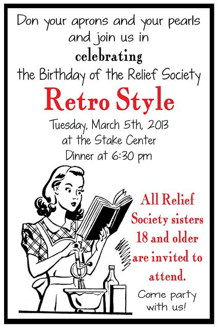 Relief Society Retro Birthday Party - Such a fun theme #reliefsociety #retro #birthday