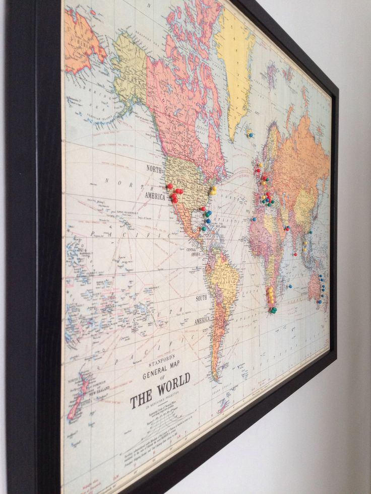 Vintage map of the world with pins of where we have been! :)