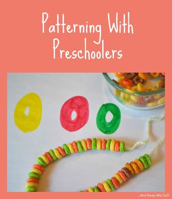 Patterning With Preschoolers.  Fruit Loops necklace to help teach patterns.  Sort, copy pattern/make a pattern. Cute st patty day craft