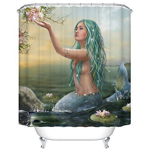 Goodbath Mermaid Lotus Shower Curtains,Mildew   If you have a darling little daughter or grandchild who loves the Little Mermaid then why not give her the ultimate bathroom of her wildest dreams.  Even as a mom nearing the age of 40 I love how whimsical and fun these bathrooms are.  It is so easy to delight your little princess by transforming their bathroom into a sea paradise with Little Mermaid Bathroom decor.
