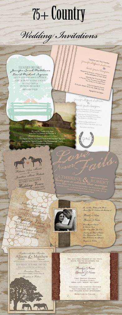 TONS of super cute southern country and equestrian horse farm themed wedding invitations and stationery with matching favors and wedding essentials! Totally customizable with your own wedding colors too!