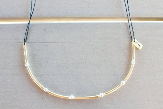 Silver Pearls on Bronze Branch Necklace, Minimal, For Her