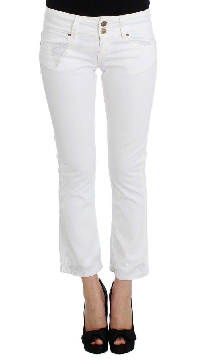 Dondup White Cotton Capri Jeans