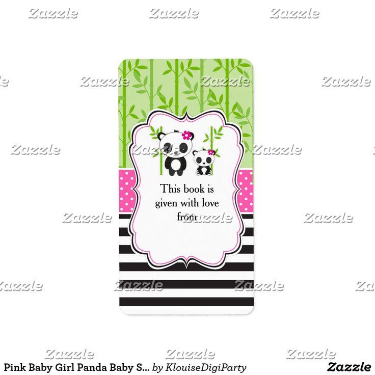 Pink Baby Girl Panda Baby Shower Bookplate