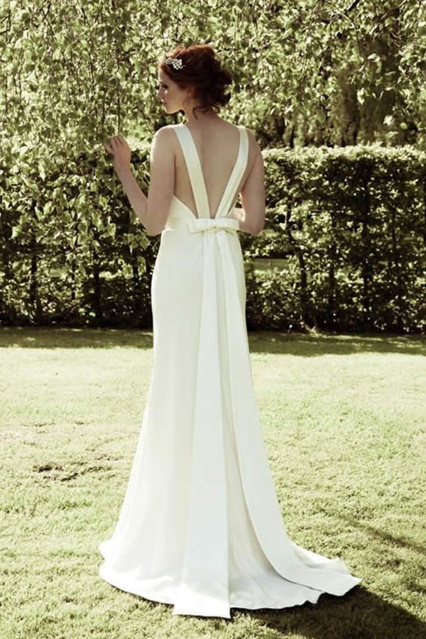 28 best images about sexy low back wedding dresses on for Open back bow wedding dress