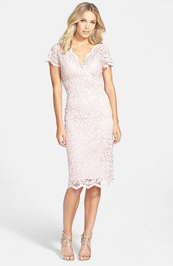 Short Pink Lace Sheath Dress
