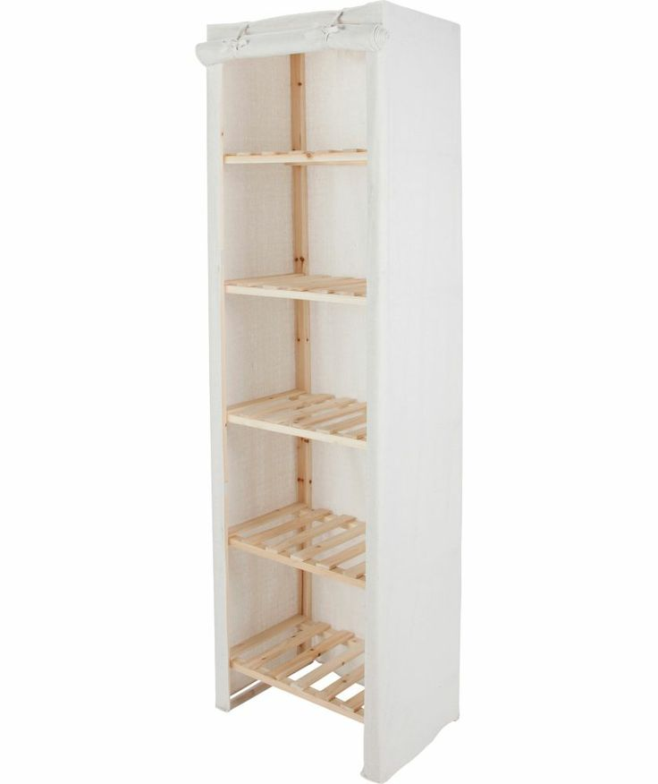 Buy Polycotton Tall 5 Narrow Shelf Storage Unit Cream At