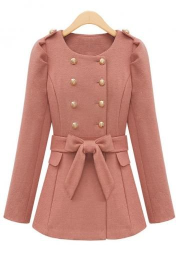 Wool long-sleeved round collar double-breasted match chatelaine coat(2colors)_Coats_CLOTHING_Voguec Shop