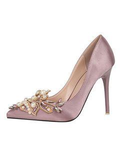 Satén tacón señaló Toe tacón bombas negro zapatos Rhinestone perla resbalón en los zapatos de noche