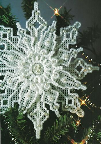 Plastic Canvas Snowflake.  Just like Grandma used to make (circa 1975).