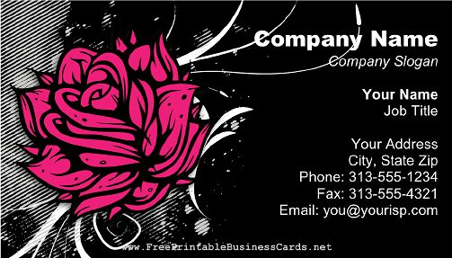 A bold pink rose on a black background makes this modern business card stand out. Includes modern swirls. Free to download and print
