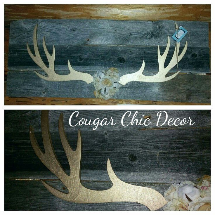 """Oh lala..wooden deer antlers on Barnwood! ! The antlers are soft gold and look amazing on the Barnwood!  Add a rustic glam feel to your space..measures 45""""wide x 18""""high"""