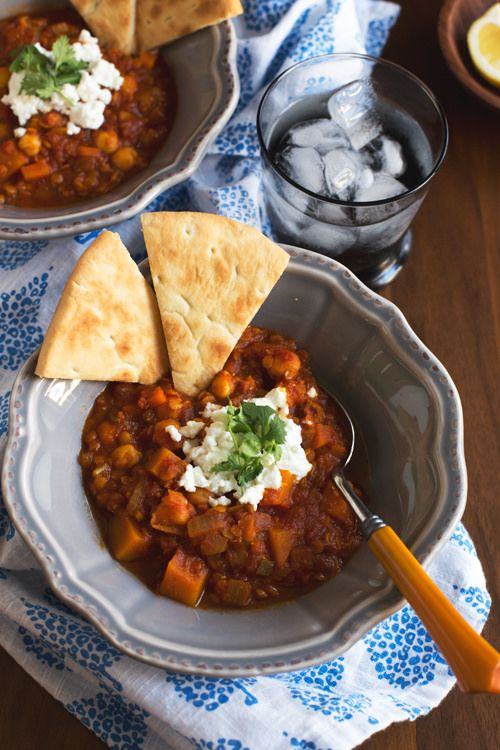 Spicy Lentil Stew with Butternut Squash, Chickpeas and Goat Cheese ...