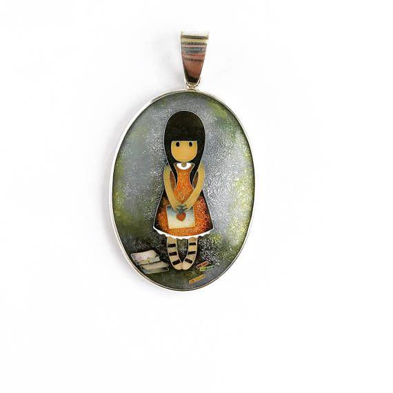 Little lovely Girl Cloisonne enamel Necklace Silver