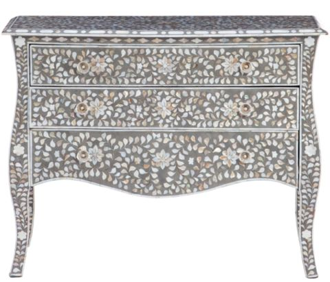 Shalimar Mother of Pearl Inlay 3 Drawer Cabriole Chest - Complete Pad ®