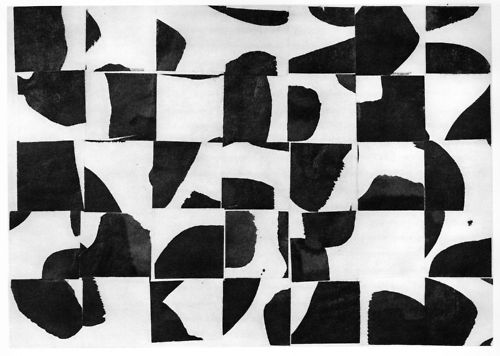 autruchon:    Ellsworth Kelly, Brushstrokes Cut Into Thirty-Five Squares and Arranged by Chance (1953)