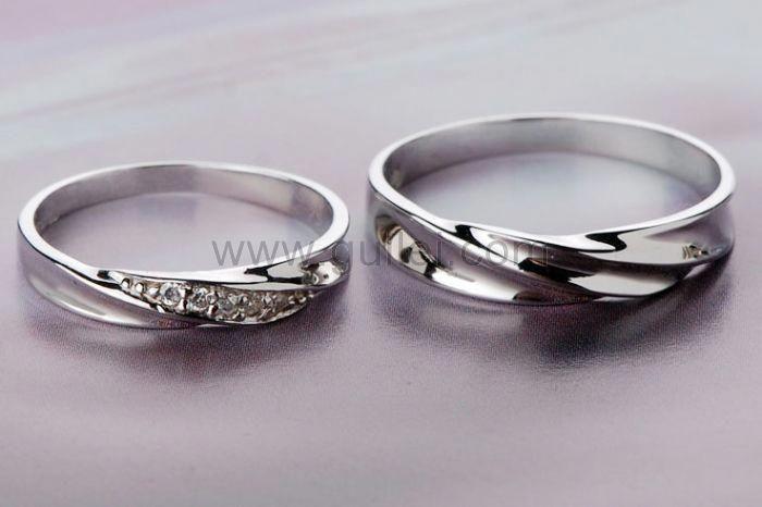 Custom Name 925 Sterling Silver Men And Women Promise Rings Set
