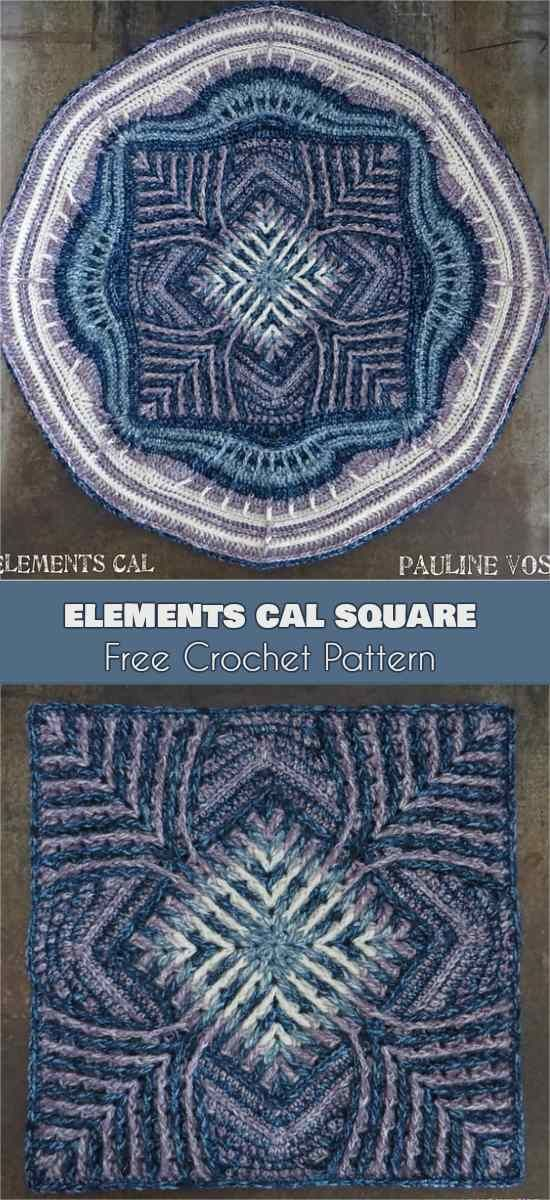 Elements Cal Square for Blankets, Pillows, Centrepieces [Free Crochet Pattern]