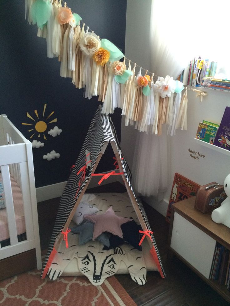 What child wouldn't want to cuddle in this whimsical reading nook?! {Tent from @ferm LIVING} #readingnook #nursery