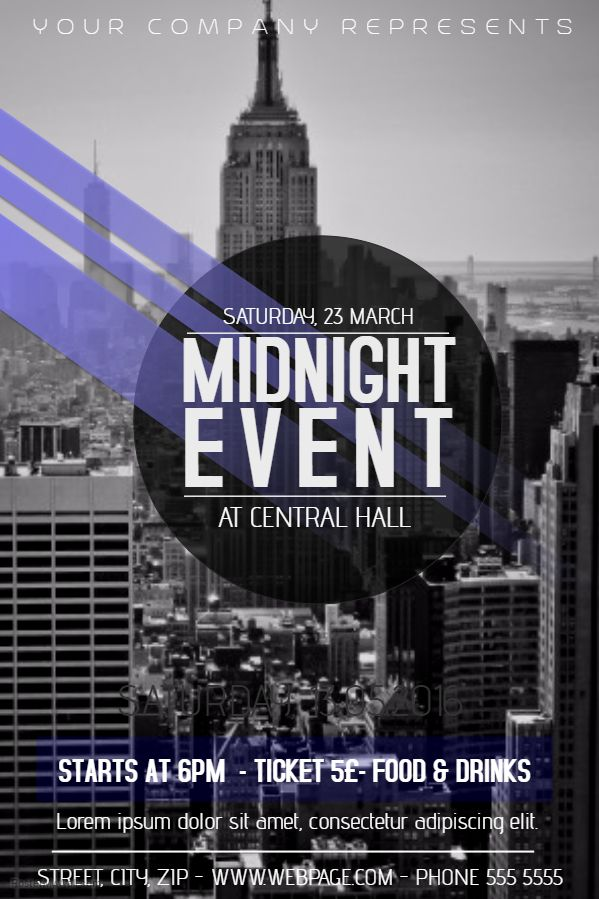 Party Midnight Event Poster Template. Click on the image to customize on PosterMyWall.
