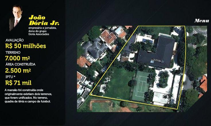 As Mansões mais caras do Brasil - SkyscraperCity 5ª Mansão de João Dória Jr (empresário e jornalista) - Avaliada em R$ 50 milhões A mansão possui uma quadra de tênis e um campo de futebol. Terreno: 7000 m²