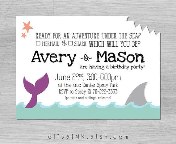 mermaid and shark kids birthday invitation digital printable file