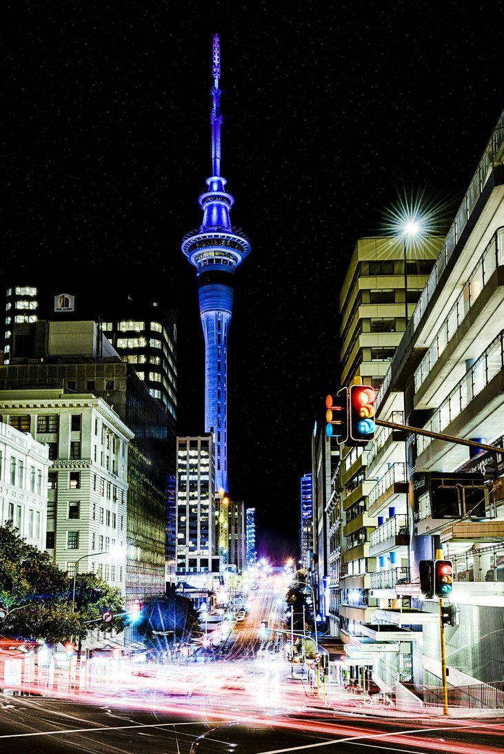 Aukland, New Zealand ~ Victoria/Queen Street at night