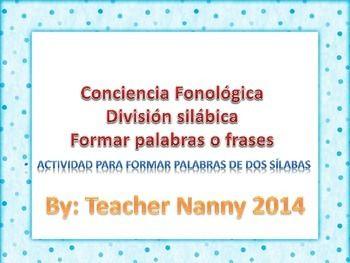 Español Formar palabras u frases conciencia fonologica Nivel silaba Actividad profunda