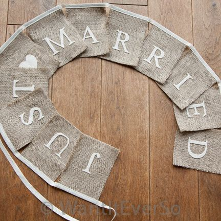 Hessian / Burlap Wedding Bunting - Just Married, Photography Prop, Decoration for Rustic, Country, Shabby Chic, Vintage Wedding. £12.50, via Etsy.
