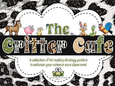 The NEW and IMPROVED Critter Cafe!  44 reading strategy posters featuring our FAVORITE beanie critters!  Giveaway for your chance to win ends soon!  visit firstgradecrittercafe.blogspot.com to enter!