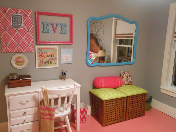 Tween room make over.  Re purposed mirror from an old dresser.  DIY padded ottomans from IKEA side tables.