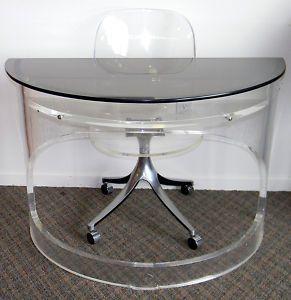 vintage mid century modern lucite desk w lucite chair - Lucite Desk