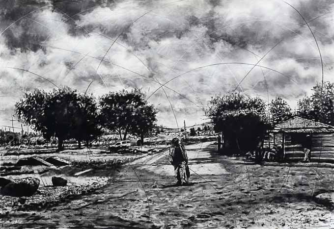 By Phillemon Hlungwani entitled: Mi Kondzo Ya Tinghwazi I (Heroes Foots Steeps), charcoal on paper, 200 x 140cm For more please visit: www.finearts.co.za
