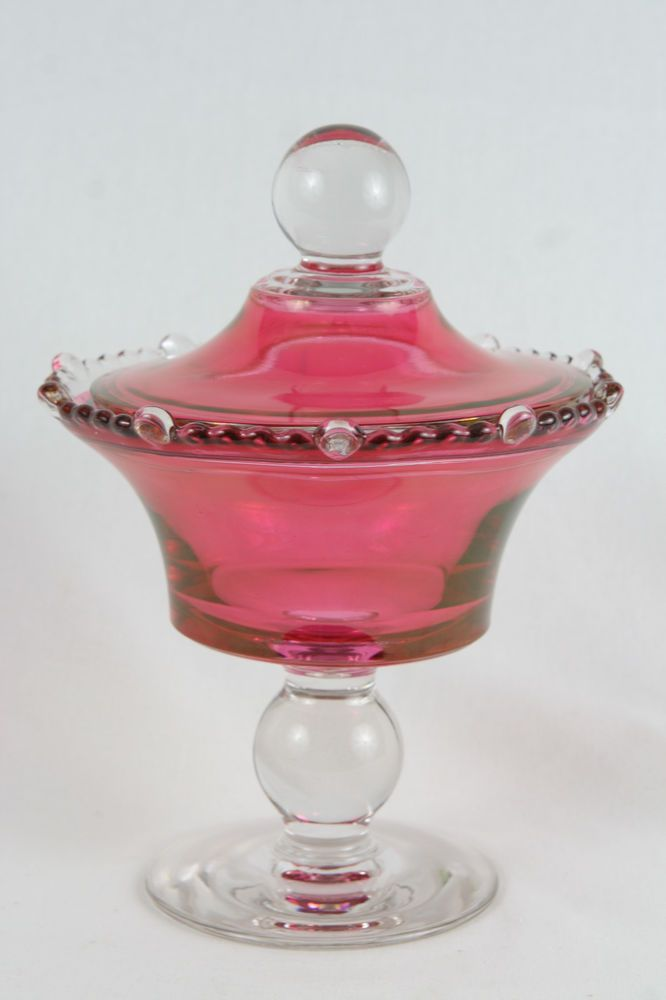 Vintage christmas cranberry candy dish imperial
