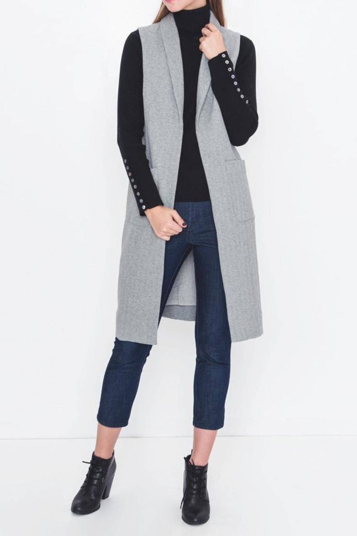 A black ensemble thrown over this Heather Gray Vest is beyond exceptional.   Heather Gray Vest by Movint. Clothing - Jackets, Coats & Blazers - Vests Los Angeles, California