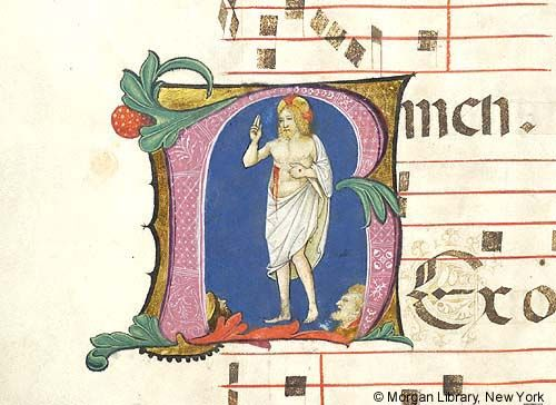 Christ: Ascension, within initial R | Antiphonary | Italy, Milan | ca. 1496-1497 | The Morgan Library & Museum