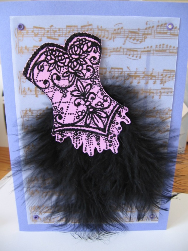Nice corset card with music background.