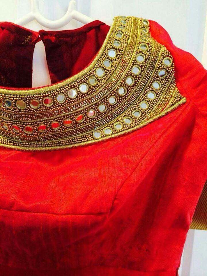 Red mirror blouse