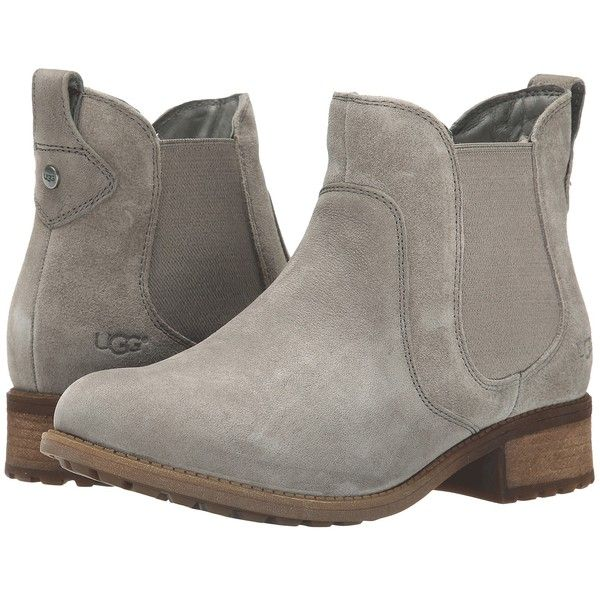 UGG Bonham Women's Boots, Gray ($105) ❤ liked on Polyvore featuring shoes, boots, ankle boots, grey, pull on boots, full grain leather boots, short gray boots, slip on ankle boots and grey bootie