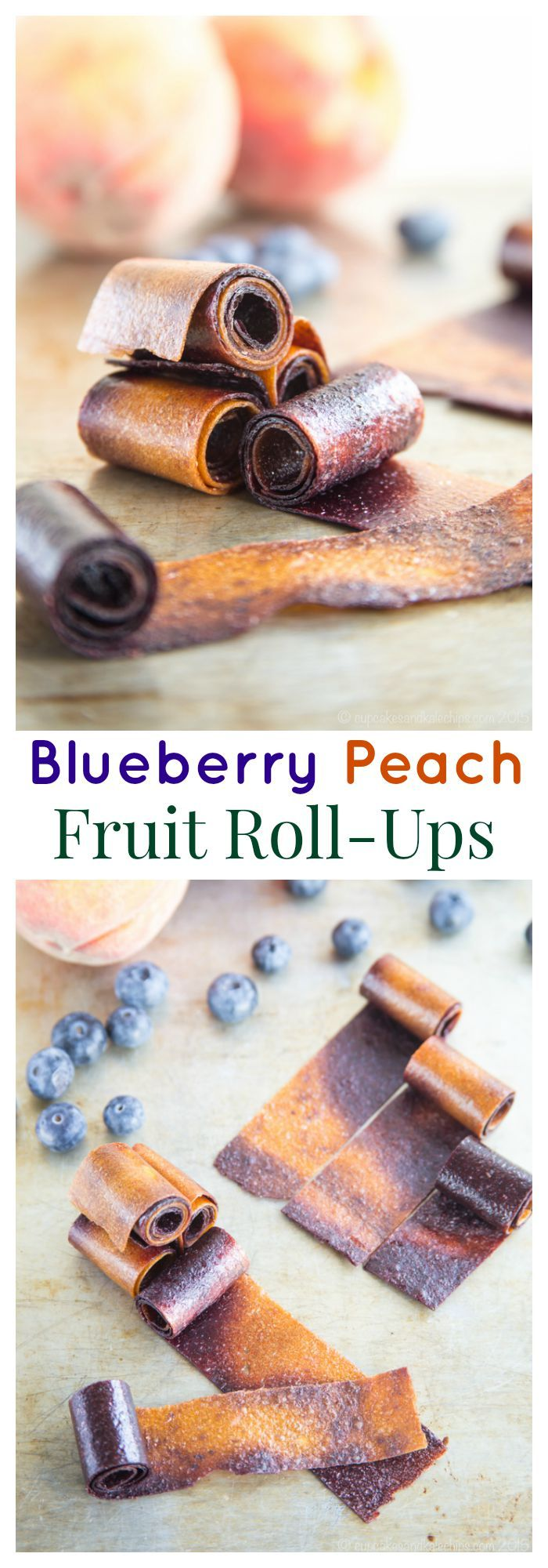 Blueberry Peach Fruit Roll-Ups swirl together two favorite summer fruits into one sweet and healthy snack perfect to pack in a lunchbox. #SundaySupper | cupcakesandkalechips.com | gluten free, vegan, paleo recipe