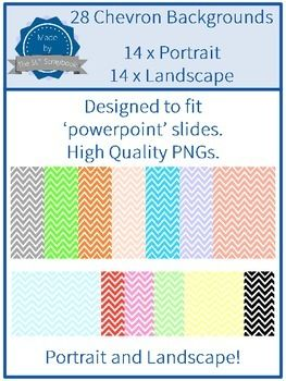 This zip file contains 28 Chevron Backgrounds. 14 in portrait and 14 in landscape (two of each color). They are designed to fit powerpoint slides and can be easily resized.  All files are PNG format.   The graphics are OK for personal and commercial use.