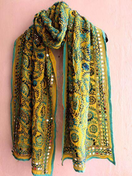 Buy Handembroidered phulkari yellow stole