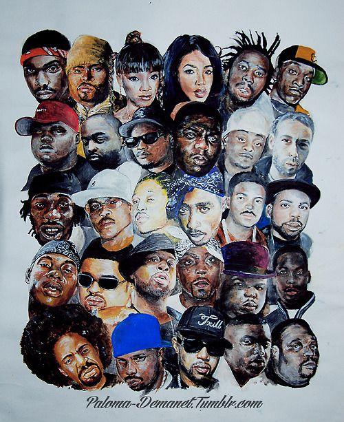 FIRST ROW - Proof, Big Punisher, Lisa Left Eye Lopez, Aaliyah, Ol' Dirty Bastard, Big L SECOND ROW - Mausberg, KMG, Eazy-E, The Notorious B.I.G., MC Breed, MCA THIRD ROW - Freaky Tah, Guru, Yaki Kadafi, 2pac, Frank Alexander, Jam Master Jay FOURTH ROW - Soulja Slim, Heavy D, J. Dilla, Nate Dogg, Big Moe, Scott La Rock FIFTH ROW - Mac Dre, DJ Screw, Pimp C, Fat Pat, H.A.W.K.