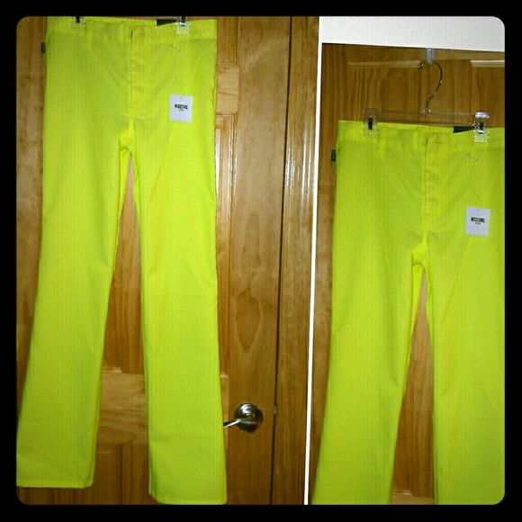 NEW MOSCHINO neon yellow pants jeans Pictures don't do them justice. Amazing quality, perfect for summer -very light/thin. I always dreamed I'd fit into them, but unfortunately never did Moschino Pants