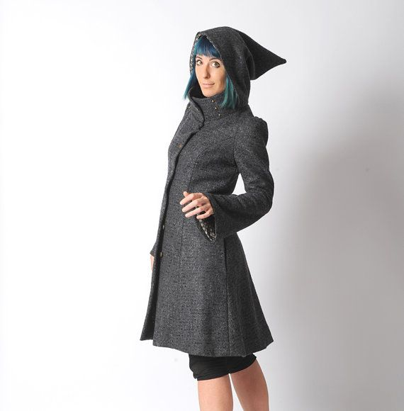 Dark grey Steampunk Coat Womens grey winter coat with by Malam