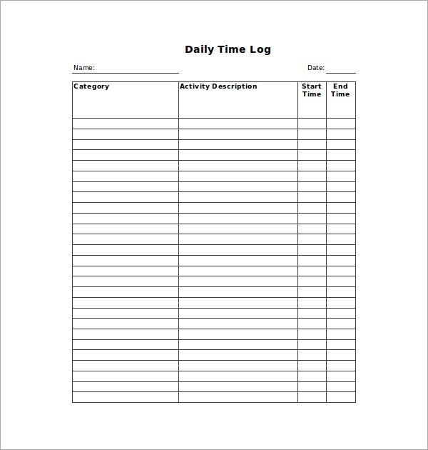 Time Log Templates 14 Free Printable Word Excel Pdf Free