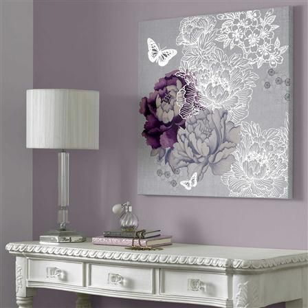 Graham & Brown - Floral Metallic, Canvas Wall Art, 60x60cm